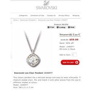 Swarovski Lea Clear Pendant 1046977